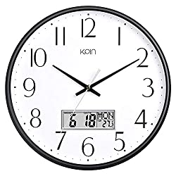 Kpin 13 Inch Silent Non-Ticking Quartz Wall Clock Decorative Indoor Kitchen Clock, Excellent LCD Display,Battery Operated Wall Clock for Living Room,Kitchen,Dining Room,Bedroom (Black, 13 LCD)