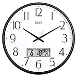 Kpin Classic Wall Clock 13 Inch Large Non Ticking Quiet Quartz Clock for Living Room/Office (Black, 13' LCD)