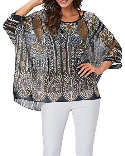 iNewbetter Womens Sheer Chiffon Caftan Poncho Batwing Tunic Top Blouse Kimono Summer Shirts PB 334
