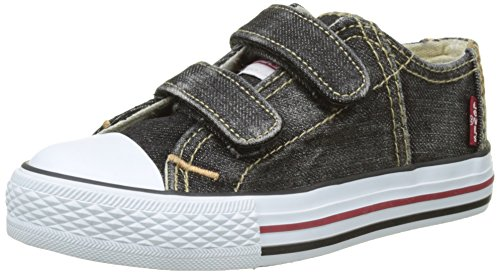 Velcro Tab Baskets Kids Noir Red Levi's Low Black Original Denim Basses Garçon 7wnHT7qX