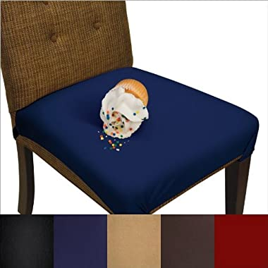 SmartSeat Dining Chair Cover and Protector- Pack of 2 -Midnight Navy Blue - Removable, Waterproof, Machine Washable, Stain Resistant, Soft, Comfortable Fabric for Kids, Pets, Entertaining, Eldercare