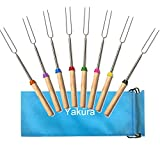 Marshmallow Roasting Sticks, Telescoping Smore Sticks Skewers for BBQ Hot Dog Fork Patio Fire Pit Camping Cookware Campfire Cooking Utensil for Kids Adult Party Accessories