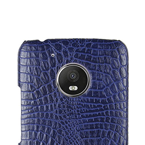 Funda Moto G5, SunFay Funda Posterior Protector de PC Carcasa Back Cover de Parachoques Piel PU Protectora de Teléfono Para Mototrola Moto G5 - Blanco Purpura-azul
