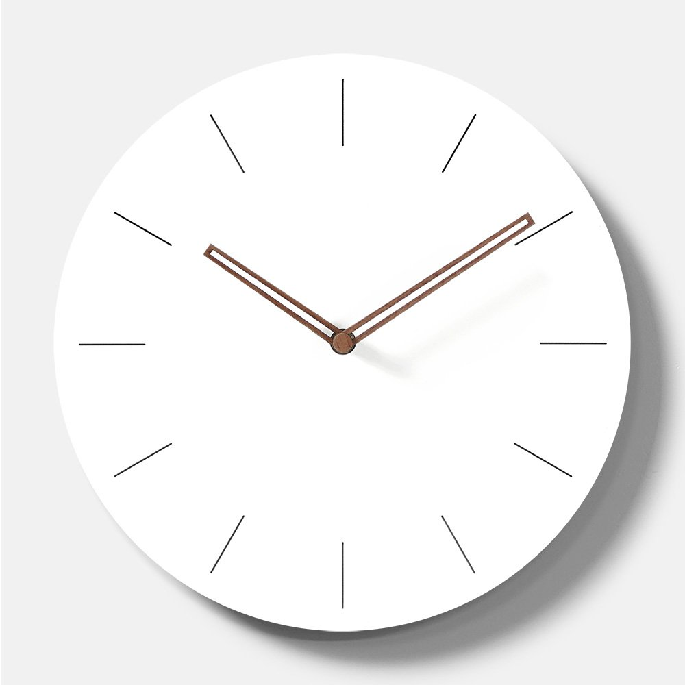 Simple Modern White Round Wooden Wall Clock 11 inch Non-ticking one AA battery powered (Arabic Numbers) MOOQ