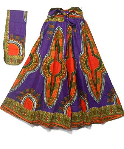 Dashiki Maxi Skirts High Waisted African Ankara Print Long Skirts Elastic w/Belt