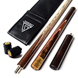 CUESOUL 3/4 Jointed Handcraft Snooker Cue 57 inch with Extension +Cue Joint Protector + Leatherette Cue Bag