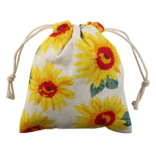 uxcell Sunflower Pattern Outdoor Hiking Travel Protable Cosmetics Sundries Storage Candies Gift Pouch Drawstring Closure Bag Small
