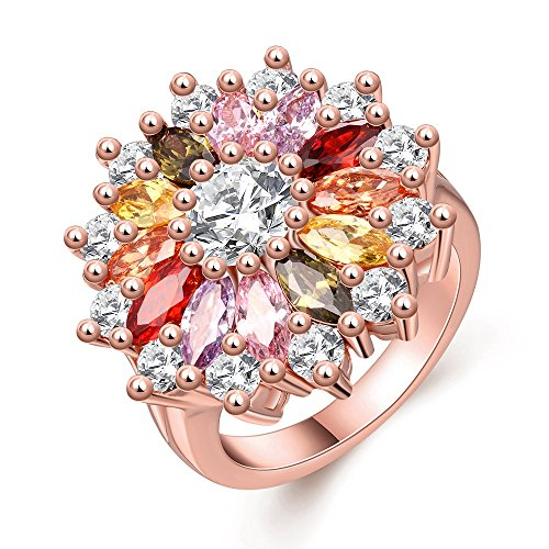 Multi Gold Ring Stone (LuckyWeng Crystal Quartz Flower Ring For Women Rose Gold Cocktail Multi Gemstone Statement Rings Size 7 8)