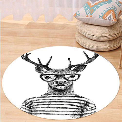 VROSELV Custom carpetDeer Decor Collection Dressed Up Deer Reindeer Headed Human Hipster Style with Glasses Striped Shirt Design Bedroom Living Room Dorm Black White Round 79 inches - Hanger Style Double Sided Floor
