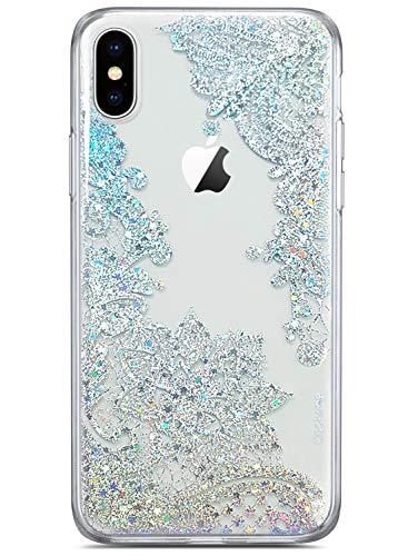 Coolwee Clear Glitter for iPhone Xs Case iPhone X Thin Flower Slim Cute Crystal Lace Bling Shiny Women Girls Floral Plastic Hard Back Case Soft TPU Protective Cover for Apple iPhone Xs Mandala Henna]()