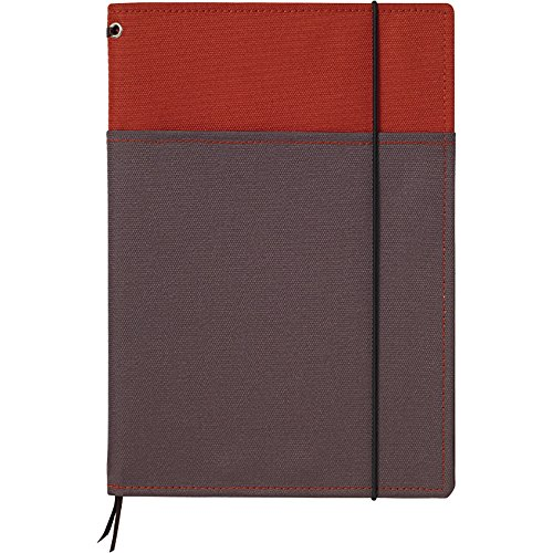 "Kokuyo Systemic Refillable Notebook Cover - A5 (5.8"" X 8.3"") - Normal Rule - 24 Lines X 40 Sheets - Red / Gray"