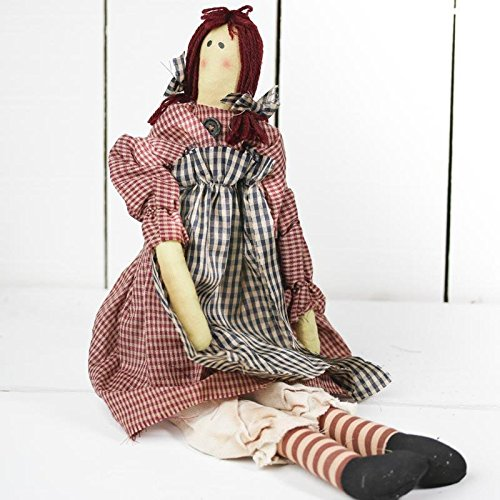 Raggedy Rag Doll (Primitive Look Muslin Rag Doll with Black Check Homespun Apron for Home Decor and Gifting)