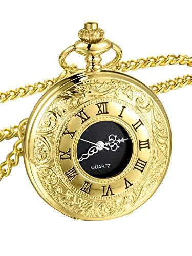 Mudder Vintage Roman Numerals Scale Quartz Pocket Watch with Chain (Gold) ()