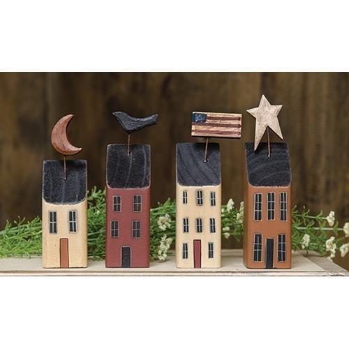 Heart of America Little Wood Primitive Houses - Set of 4