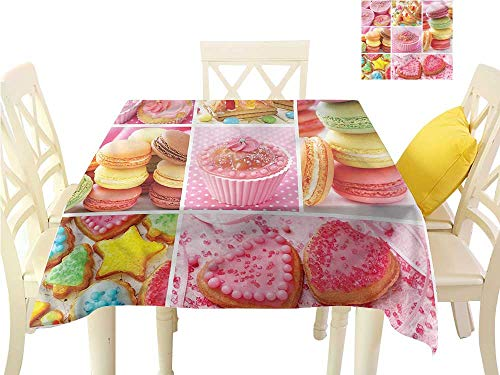 (Davishouse Elegance Engineered Tablecloth Cupcakes Macarons Biscuits Great for Buffet Table W50 x)
