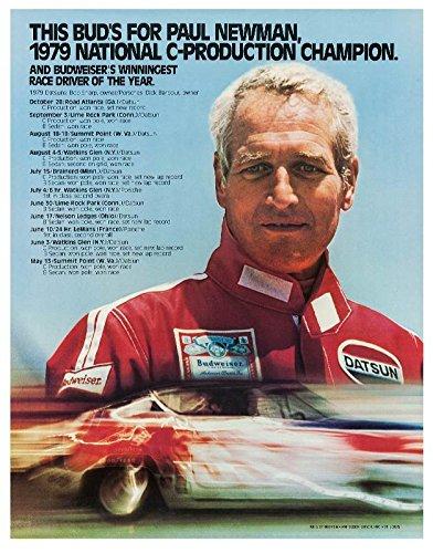 Old Tin Sign 11 X 14 Paul Newman Budweiser Racing Poster  Anheuser Busch  1979   Advertising Poster 24 X30