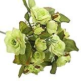 Glumes 1 Pcs Artificial Silk Flowers Rose Fake Floral Bouquets Indoor Outdoor Vase Filler Home Kitchen Patio Wedding Centerpieces Arrangements Farmhouse Decor