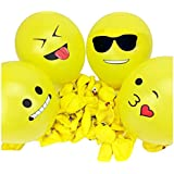 100 Emoji Balloons - 12 Inch Latex Yellow Face Emoticon