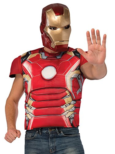 Iron Man Costumes Adults (Rubie's Costume Co Men's Avengers 2 Age Of Ultron Adult Iron Man Mark 43 Muscle Chest Costume Top and Mask, Multi, Standard)