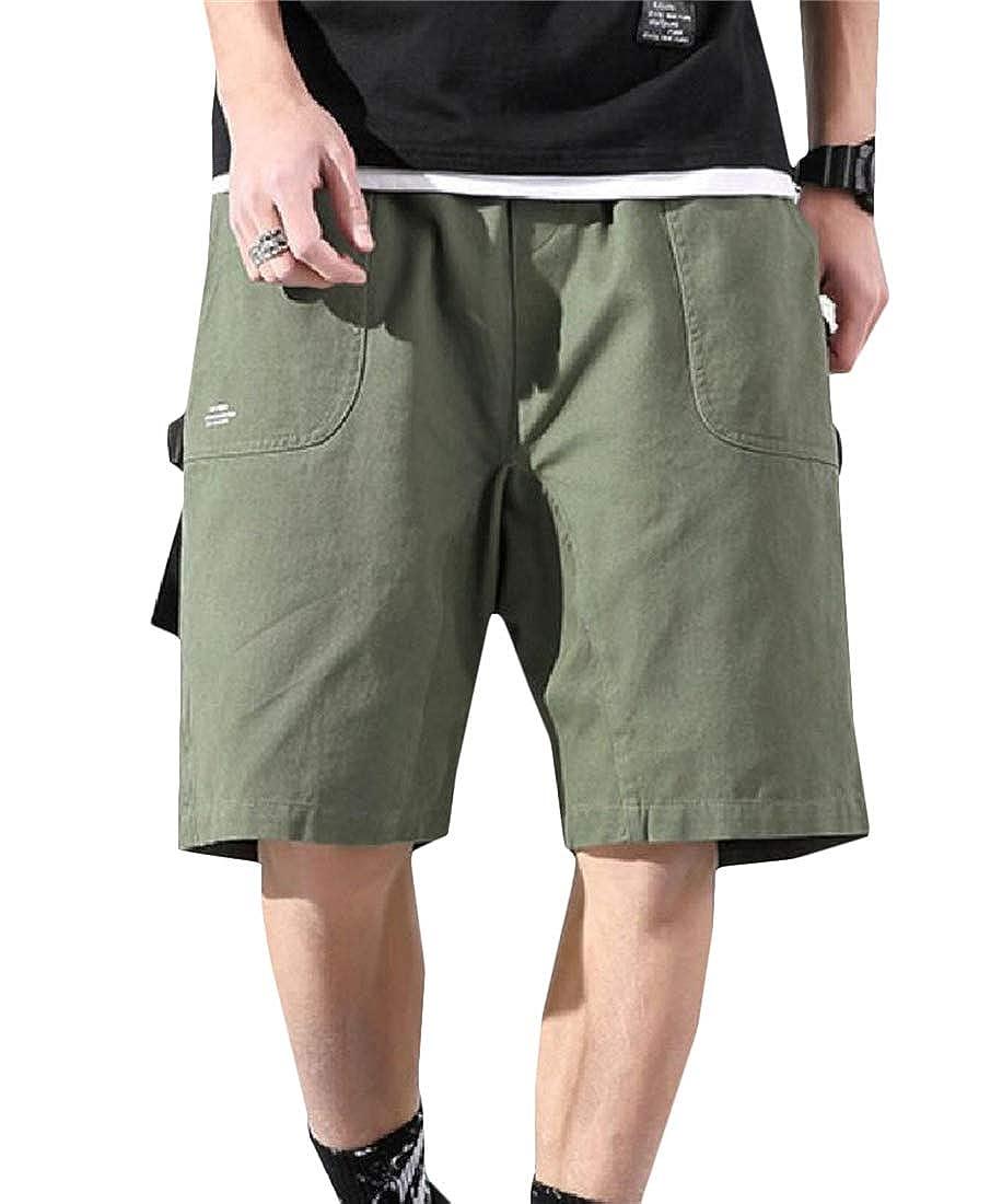 Pandapang Mens Straight Leg Vogue Baggy Mid Waist Activewear Cargo Short Pants