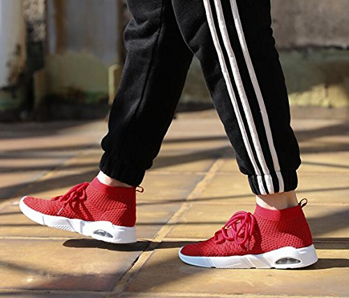 Alta por Caminar Con Favor Fitness Gris Sneakers 38 Para Etiqueta Slip Correr Rojo Negro Zapatos Deportivas Calcetín Zapatillas La 45 Tome Los Como Estándar Reciba Cuando Tamaño De Knit Air Hombre Top On Rojo Paquete Del Blanco SwgI7zIx