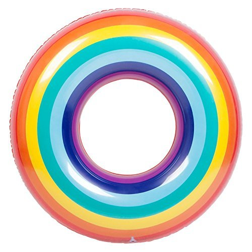 Pool Floats for Adults Xfunino Pool Inflatables Large Size Swimming Ring 47'' Colorful Rainbow Thick Pool Rafts and Floats for Adults