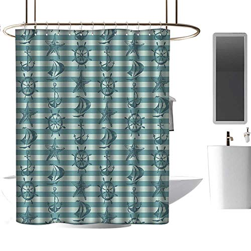 homehot Shower Curtains Tumblr Ships Wheel Decor,Retro Nautical Pattern with Ship Wheel Anchor and Starfish on Striped Background,Teal Beige,W55 x L84,Shower Curtain for clawfoot tub ()