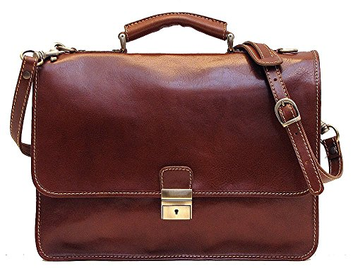 619a7ad387fc Cenzo Italian Leather Laptop Briefcase Bag in Brown Calfskin