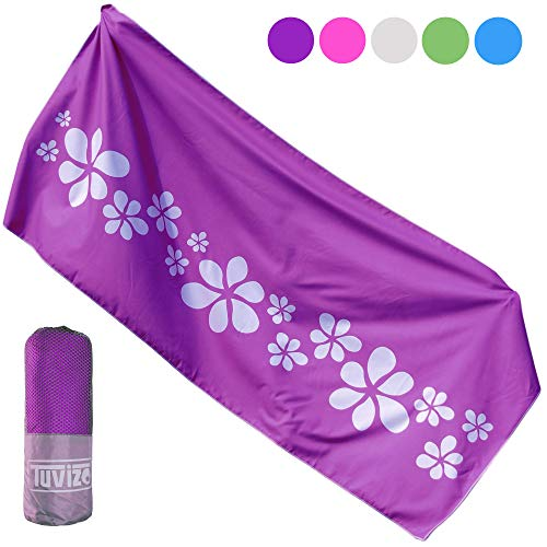 Tuvizo Microfiber Beach & Travel Towel XL for Camping Swim Sports Quick Drying Beach Towels No Sand. Travel Beach Gifts for Women Girls. Beach Vacation/Travel Accessories for Women. Purple