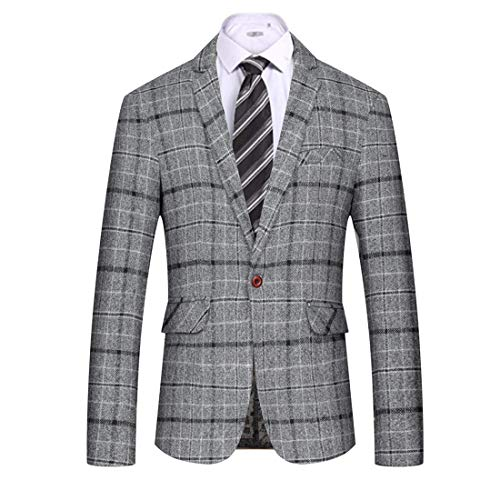 Coat Fully Lined Tweed (MAGE MALE Men's Casual Blazer Slim Fit Plaid One Button Business Suit Jacket Sport Coat (Grey, X-Small))