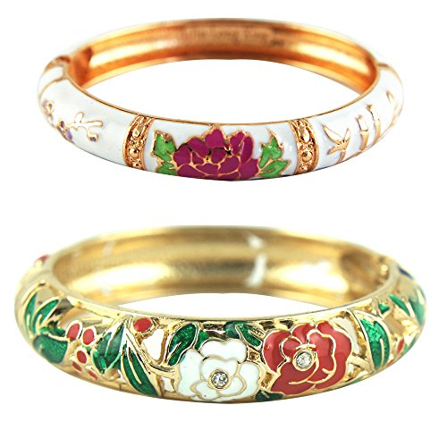 - UJOY Fashion Cloisonne Bracelets Enameled Multi-Colors Rose Women's Gifts Bangles Spring Hinged Gold Plated 88A10 Green White