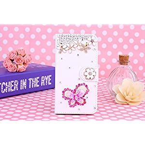 HTC Desire 700/709d Case, iNenk® PU Leather Purse Case w/Card ID Holder White Luxury 3D Fashion Handmade Glitter Bling Diamond Pearl Flip Crystal Wallet Card Pouch Stand Cover-Rose Butterfly