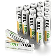 EBL Rechargeable AAA Batteries (16-Counts) High Capacity 1100mAh Ni-MH - UL Certified