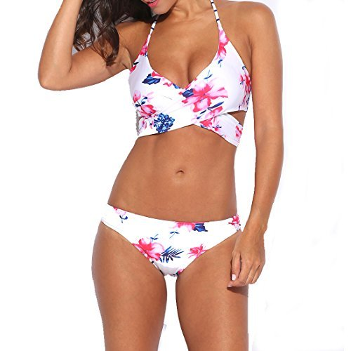 White Floral Swimsuit (Asatr Women Floral Printed Push Up Padded Bathing Suits 2-Piece Halter Criss Cross Bikini Set)