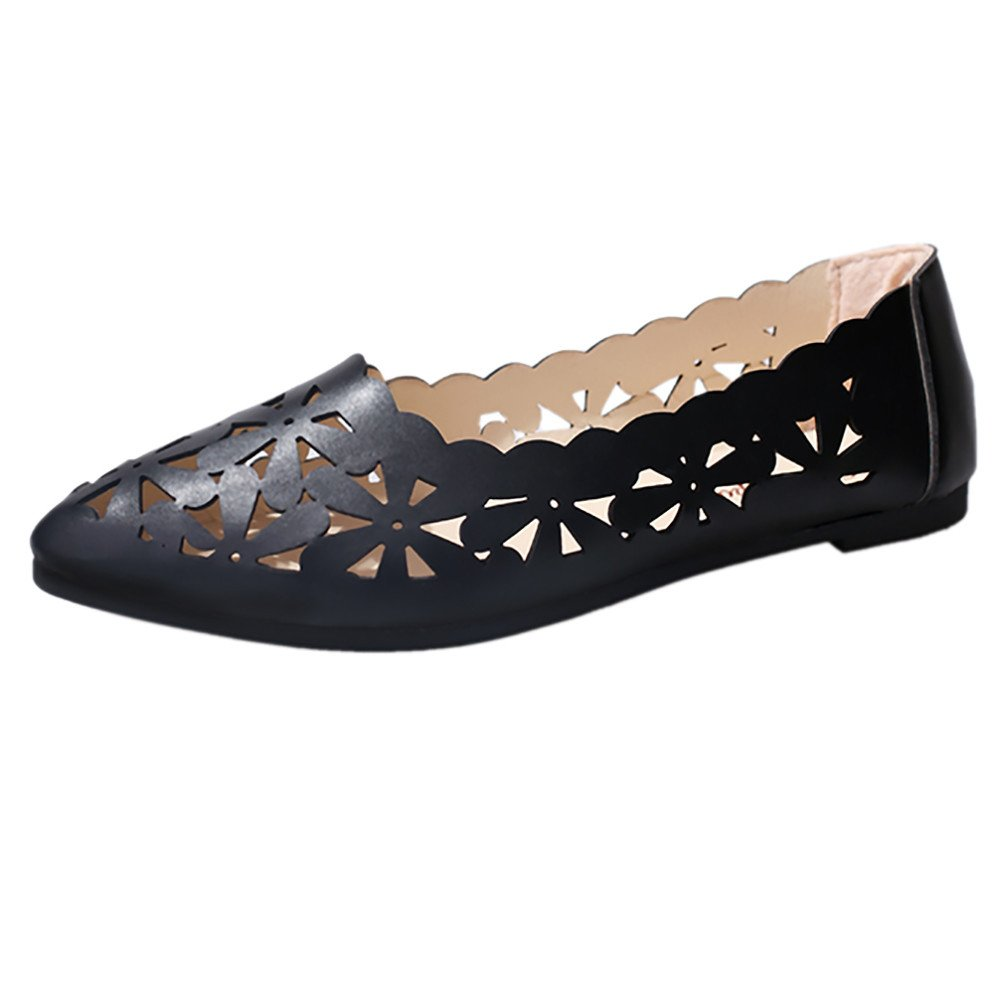 Nevera Women's Slip On Ballet Flats Pointed-Toe Casual Cut Out Shoes Comfort Slippers Black