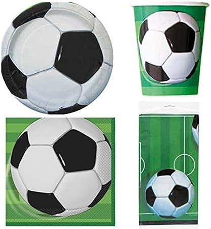 Juego de Mesa Futbol para 8, 8 Vasos, 8 Platos, 16 servilletas y 1 ...