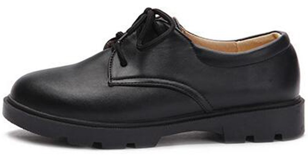 Summerwhisper Women's Casual Round Toe Low Top Lace-up Low Heel Platform Oxfords Shoes Black 7.5 B(M) US