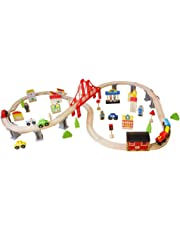 [70 pcs] - Wooden Train Set Train with Tracks Wooden Train Sets for Kids Todllers Boys Girls Set Train with Bridge Cars People Wooden Train Set Railway System Train Set Table