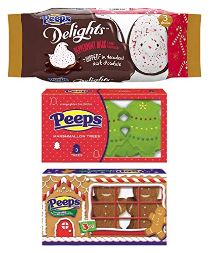 (Marshmallow Peeps Candy Chicks Christmas Variety Pack, Holiday Xmas Flavors - Peppermint Bark - Gingerbread - Trees - 3 Packs, 3 Ct. Each)