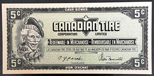 Unbranded Vintage 1974 Canadian TIRE 5 Cents NOTECRISP UNCIRCULATED CTC S4 B BN