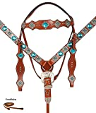 BEAUTIFUL WESTERN HEADSTALL BRIDLE REINS BREAST COLLAR HORSE LEATHER TACK SET TURQUOISE BLUE CRYSTAL (HS - BC)