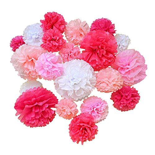 Hullabaloo Party 20 Pcs Premium Tissue Paper Pom Poms, Pink Mix Paper Flowers, Wedding and Baby Shower Decorations, Table and Wall Decor, Birthday and -