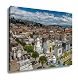 Ashley Canvas Overview Of Cemetary San Diego Showing Typical Catholic Graves With Large, Kitchen Bedroom Living Room Art, Color 24x30, AG6523045
