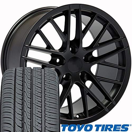 OE Wheels 17 Inch Fit Corvette Camaro C6 ZR1 Style Satin Black 17x9.5 Rims and Toyo Tires Hollander 5402 C6 ZR1 Style SET