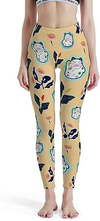 CUCIN-Legging Mallas de Gimnasia para Correr con diseño de Gato y Flor, Ligeras, Transpirables, diseño de Flores, Color Blanco, tamaño XS: Amazon.es: Hogar