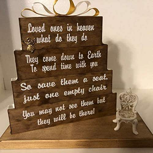 Loved Ones in heaven, what do they do? Stained Special Walnut with gold and ivory accented ribbon and antique chair