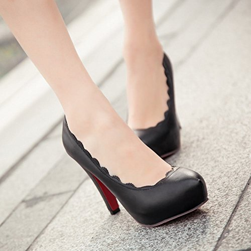 Mee Shoes Damen Spitzen innen Plateau runde high heels Pums Schwarz