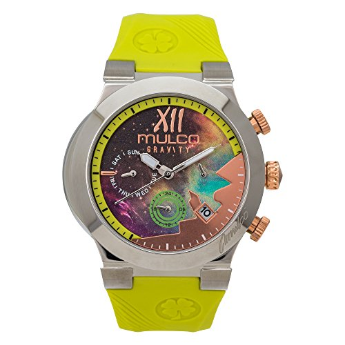 Mulco Gravity Galaxi Swiss Multifunctional Quartz Watch - Premium Multicolor Analog Sundial With Green 100% Silicone Band- Rose Gold Accents- Water Resistant Stainless Steel -Women's Fashion by Mulco Watches Inc