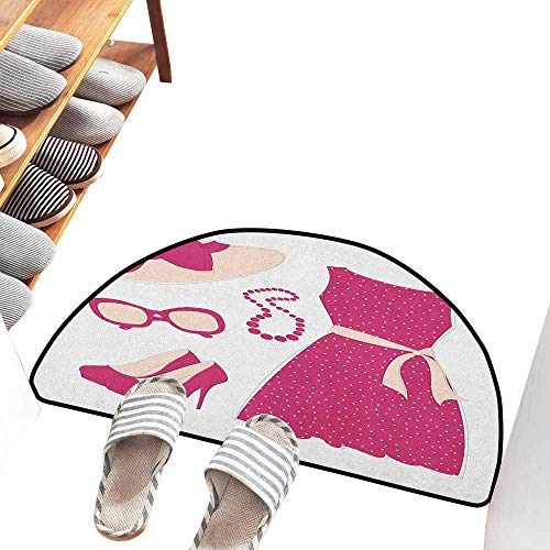 Axbkl Outdoor Doormat Fashion Pastel Colored Dress Hat with a Ribbon High Heels and Necklace Woman Clothing Country Home Decor W31 xL20 Pale Peach Pink
