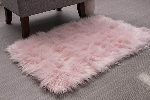 Super Area Rugs Soft Faux Fur Sheepskin Shag Silky Rug Baby Nursery Childrens Room Rug Light Pink, 2' x ()